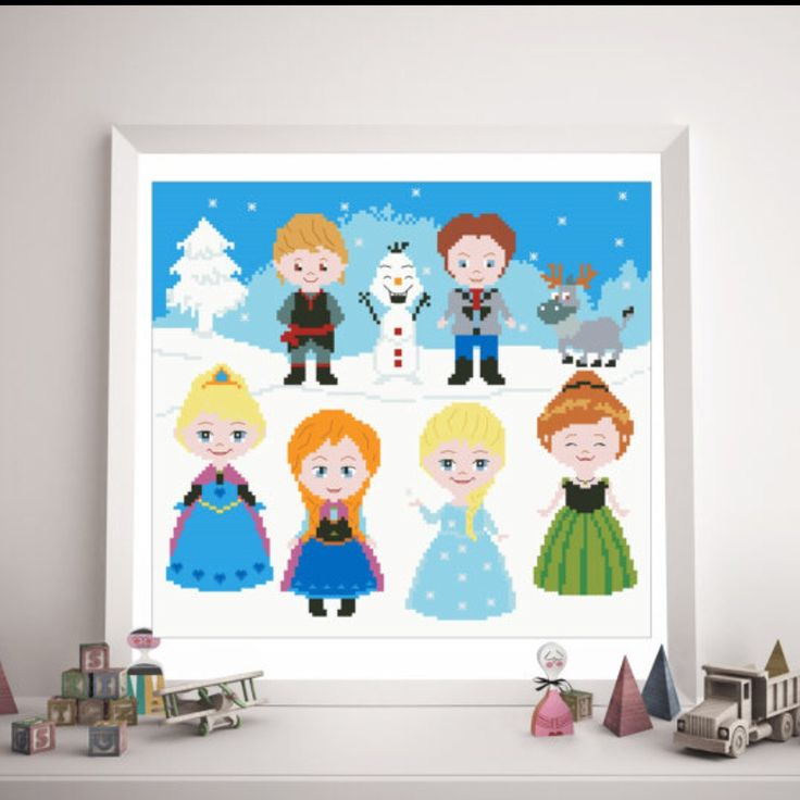 Frozen Cross Stitch for girls project Great gift for Frozen fans!