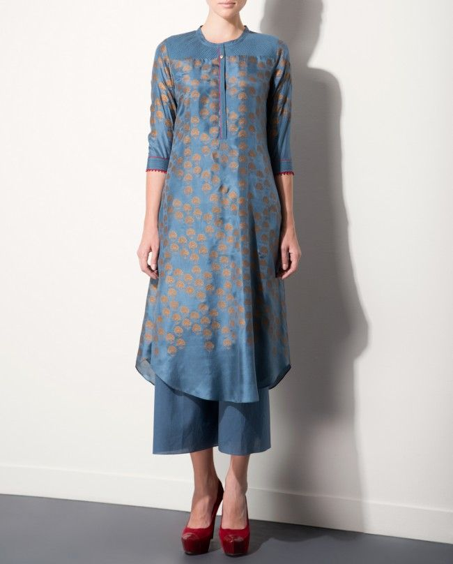 Smokey Blue Tunic with Golden Floral Prints
