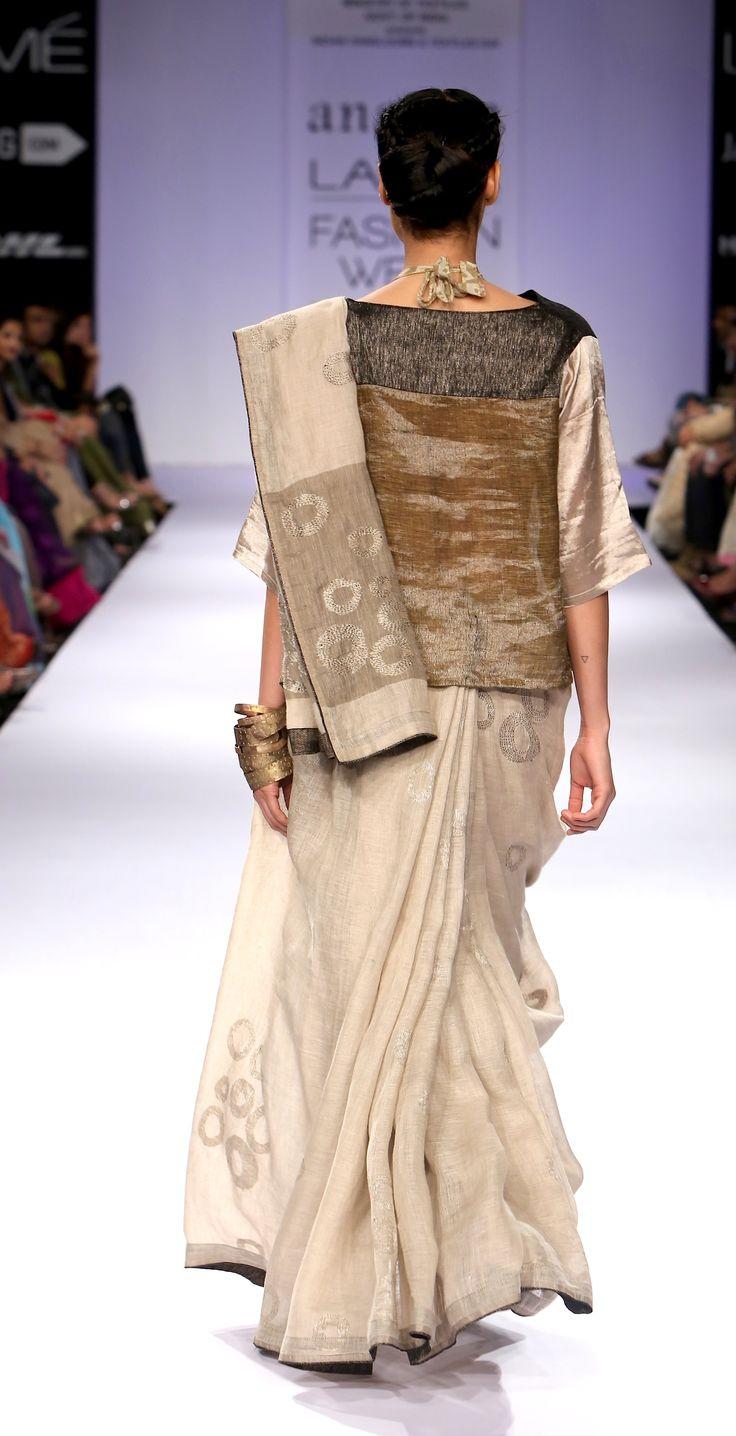 Metallic jamdani linen sari