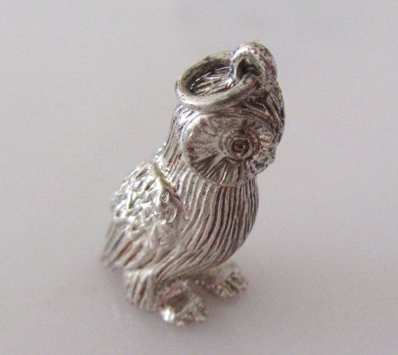 Large Silver Wise Owl Charm by TrueVintageCharms on Etsy