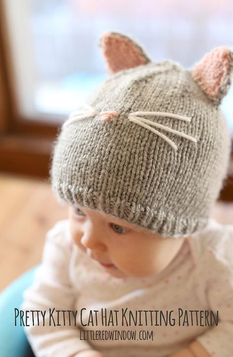Baby Cat Hat KNITTING PATTERN // Cat Ear Hat Pattern ...