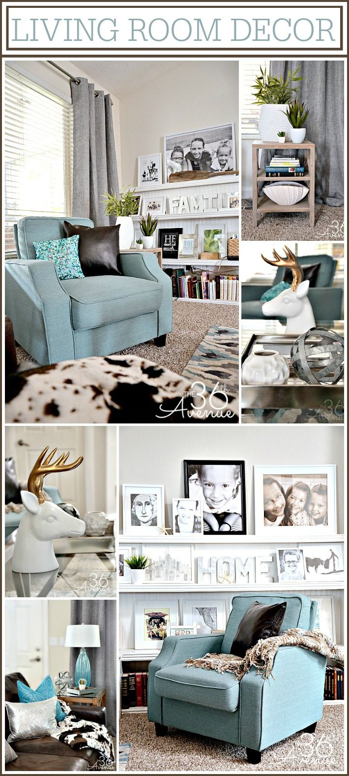 Love this color combo! Home Decor Inspiration and Living Room Reveal at the36thavenue.com