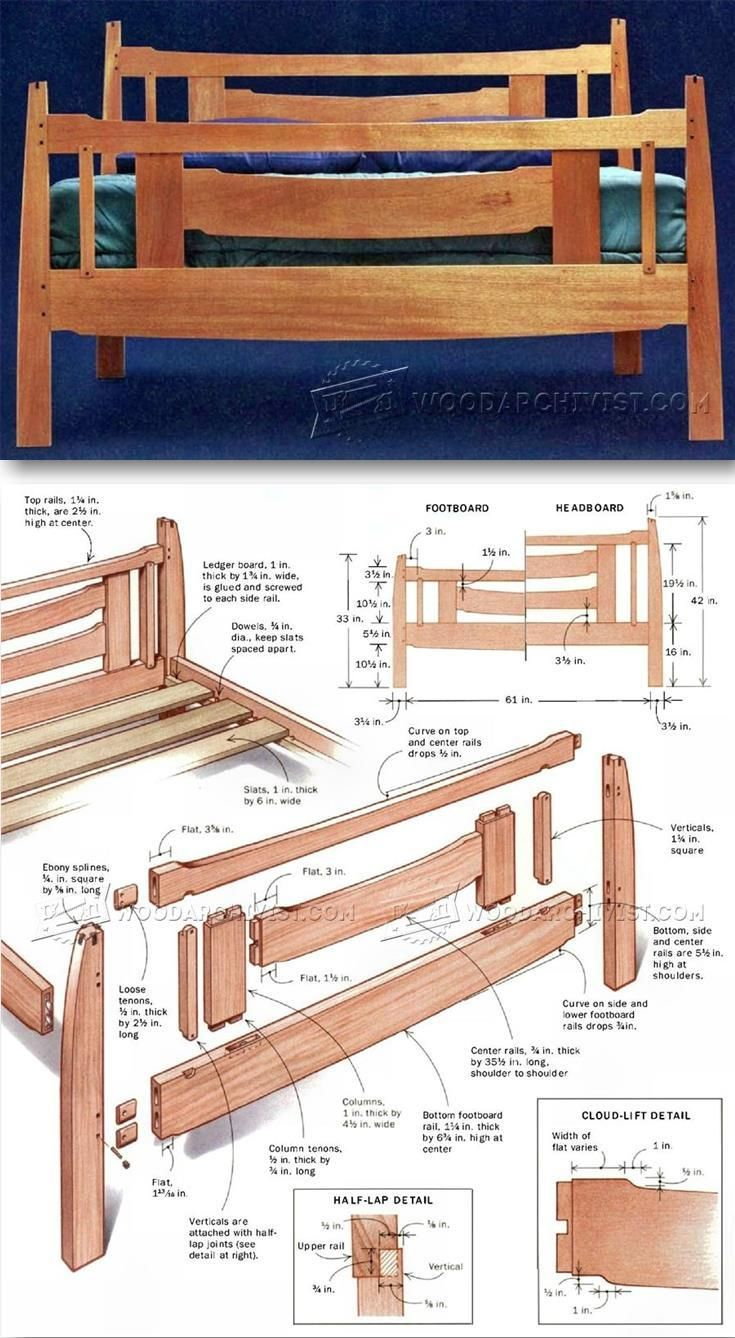 Arts and Crafts Bed Plans - Furniture Plans and Projects | WoodArchivist.com