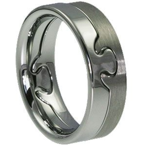 ForeverMetals.com: Puzzle is an interlocking tungsten carbide ring, $239 USD