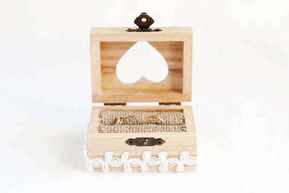 Wedding Ring Box with a Heart, Ring Bearer Box, Rustic Ring Box, Wedding Box With Lace Trim, Wedding Ring Holder, Wooden Ring Box, Burlap