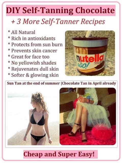 * Marias Self *: DIY Natural Self Tanner with a Healthy Sun Protection - Homemade Sunless Tanning With Chocolate (Yum!)   three more DIY fake tan bronzer recipes