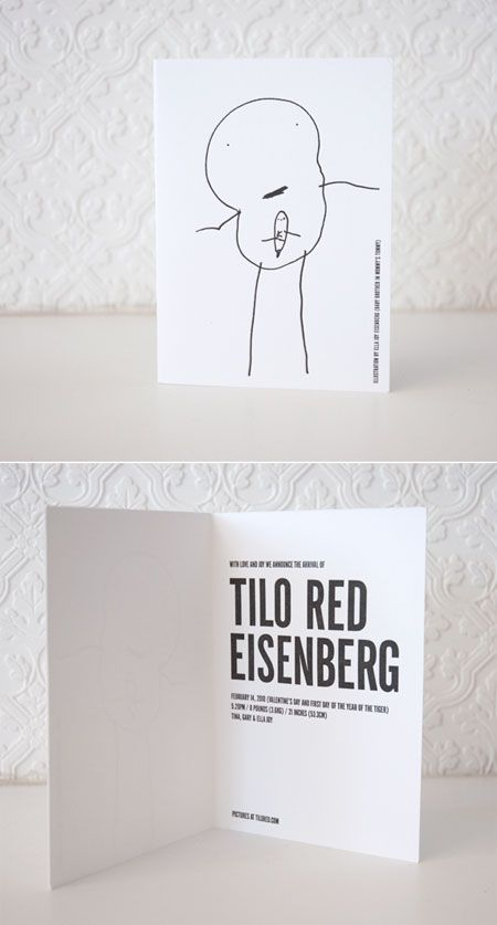 ha! So cute - Sibling-Designed Announcement  Tina of Swiss Miss had her daughter draw a portrait of the new baby! birth announcements sports, baseball birth announcements #baby #newborn