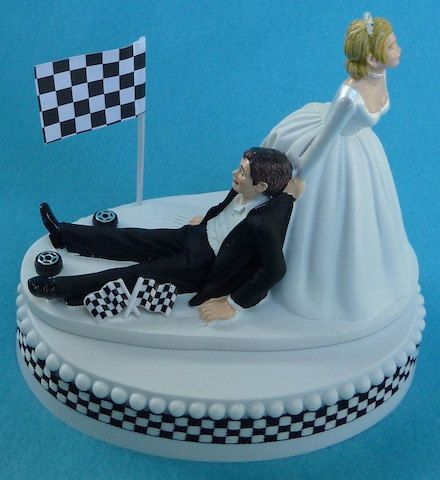 Wedding Cake Topper Checkered Flag Tires Auto Car Racing by WedSet, $59.99  I have a feeling I may need this someday...