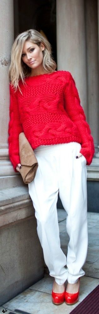 Women's fashion   Red crochet sweater with white trousers