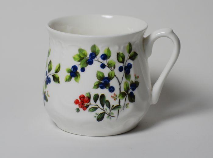 Kubek śląski dekoracja jagody (duży) - Porcelana Ćmielów
