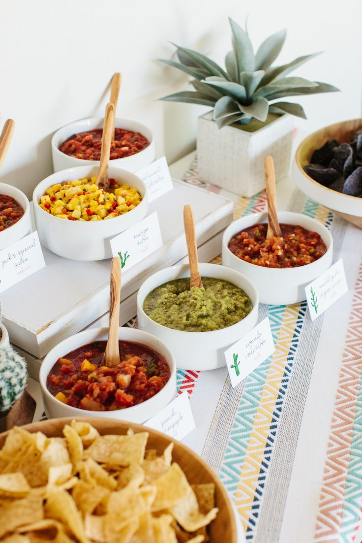Salsa bar set up for a mexican dinner party