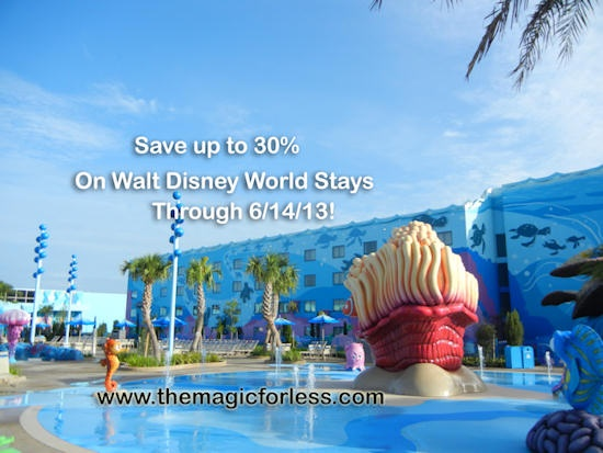 Save up to 30%* at a select Walt Disney World hotel for stays most nights Feb. 18 – March 23 and April 2 – June 14, 2013 #disney
