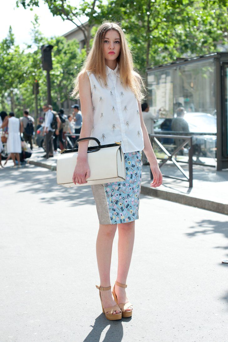 Pin for Later: 150+ Looks to Inspire Your Best Dressed Summer Yet  Add an oversize satchel to up the ante on a blouse and skirt.