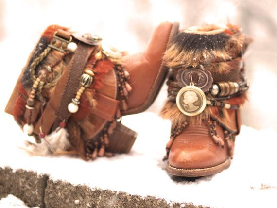 Custom upcycled REWORKED beaded vintage boho boots festival BOOTS gypsy boots ankle boots belted boots