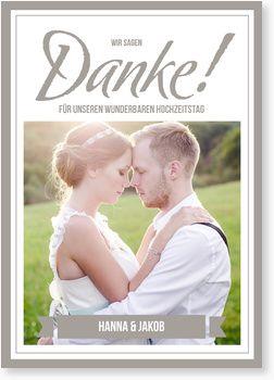 Großes Ja Dankeskarten zur Hochzeit