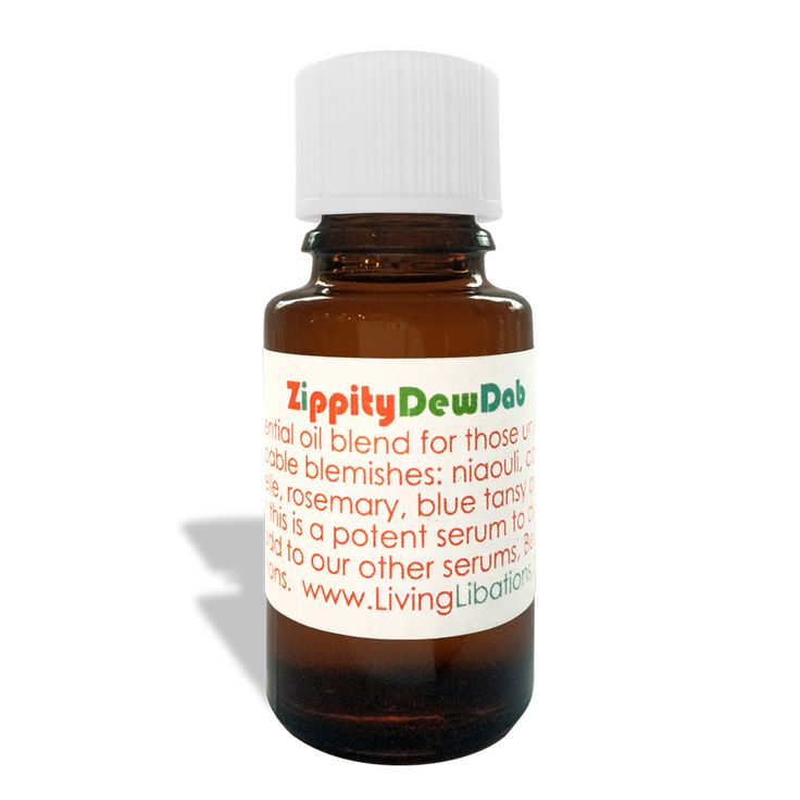 Zippity DewDab is a pure essential oil blend for those unstoppable, un-poppable blemishes. This extra potent spot treatment zaps zits in a zip! Pure Organic and/or Wildcrafted Ingredients: Pure, undiluted essential oils of Niaouli, Carrot Seed, Immortelle, Rosemary, Blue Tansy and Thyme Linalool.