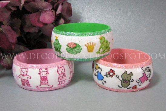 wooden decoupage bracelets for children