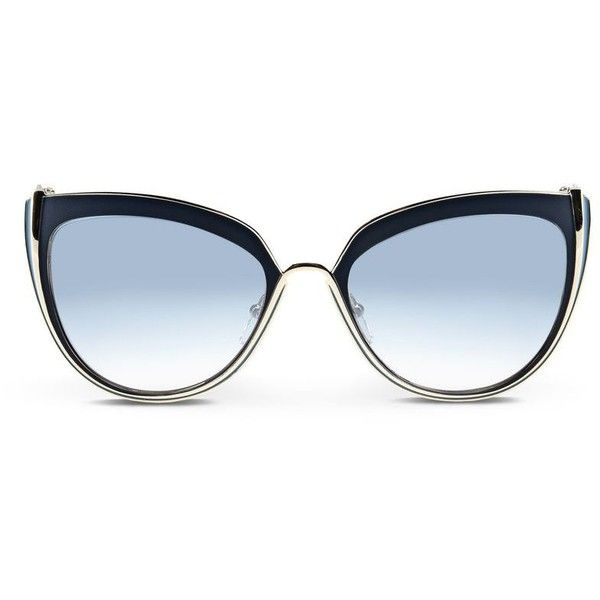 Karl Lagerfeld Piping Metal featuring polyvore, women's fashion, accessories, eyewear, sunglasses, blue, metal glasses, karl lagerfeld, cat eye sunglasses, logo sunglasses and blue cat eye sunglasses