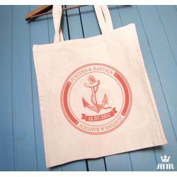 Tote Bag  mariage Marine & corail