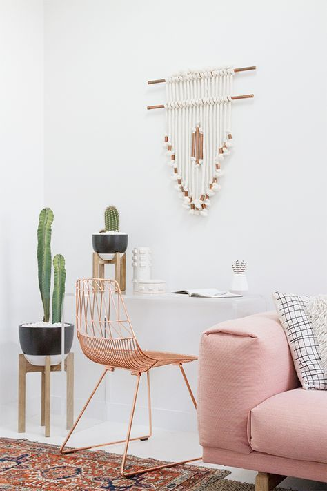 dream home | home office - chair + cacti + diy wall hanging