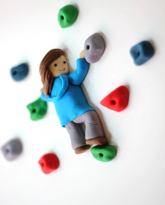Rock climbing clay magnets