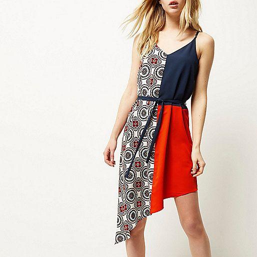 Red asymmetric slip dress