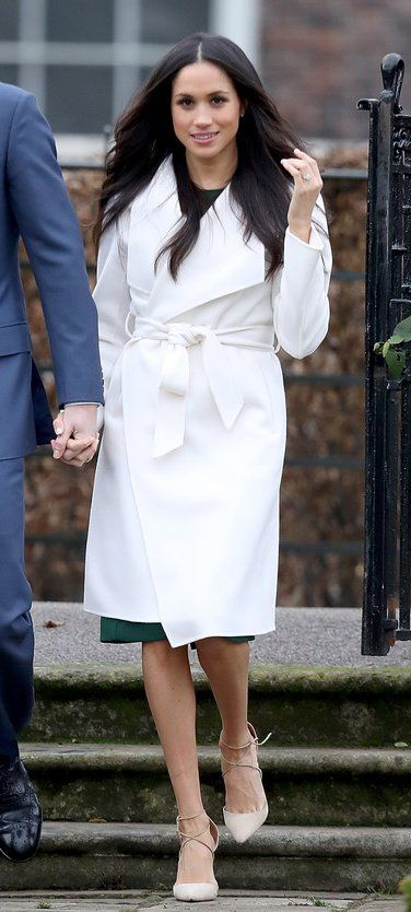 Meghan Markle in Line The Label, P.A.R.O.S.H and Aquzurra pumps announces her engagement to Prince Harry at Kensington palace. #bestdressed