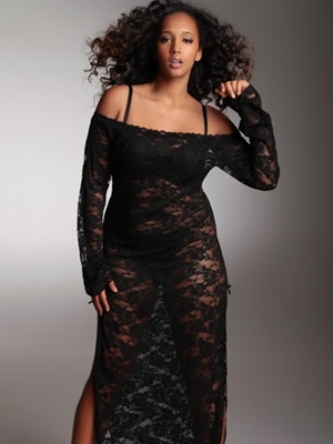Long Stretch Lace Plus Size Gown At Hips Curves My Style Of