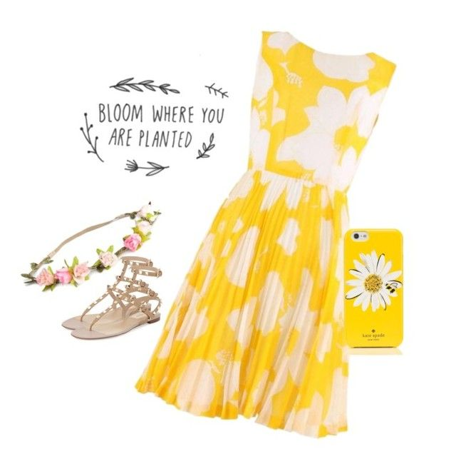 """""""Yellow #17 (Kayla)"""" by tori-kaylabeauty ❤ liked on Polyvore featuring H&M, Valentino and Kate Spade"""