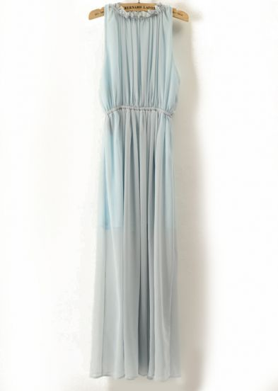 Blue Stand Collar Backless Pleated Chiffon Dress