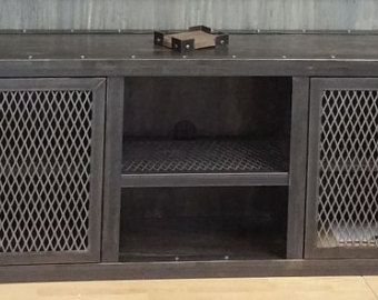 Modern Industrial Media Console Cabinet #001S • Industrial Style Furniture by Industrial Evolution Furniture Co.