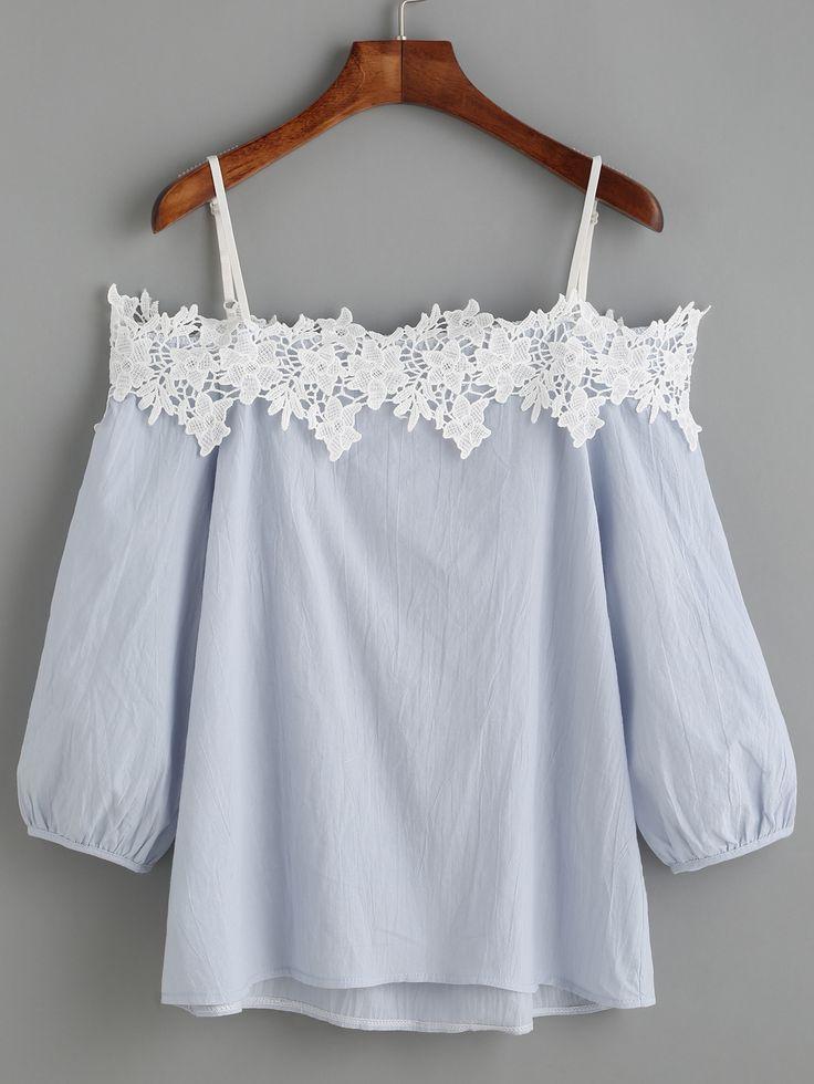 Blouse manche lanterne épaules nues avec appliques - bleu clair -French SheIn(Sheinside)