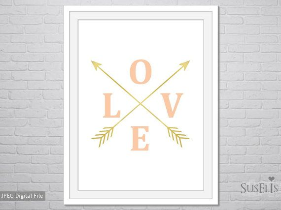 Printable Love Arrows Art Peach and gold Arrows art by Suselis