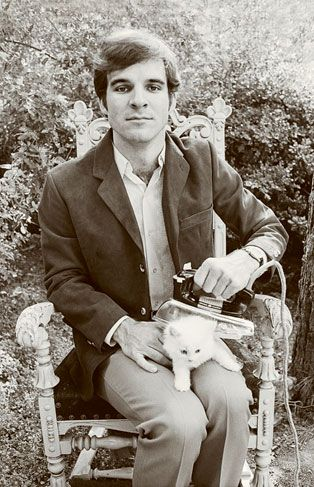Steve Martin ironing a kitten