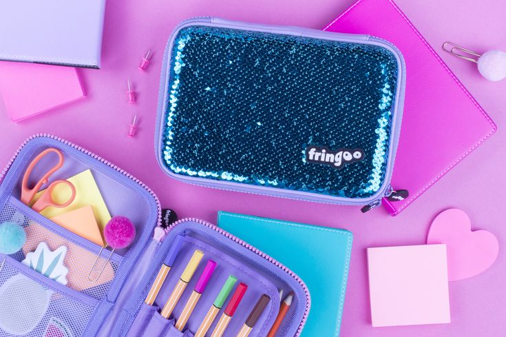 Sequin Pencil Cases for kids. Unique mermaid scale like school accessories for girls. Brilliant back to school gift. Super trendy item.