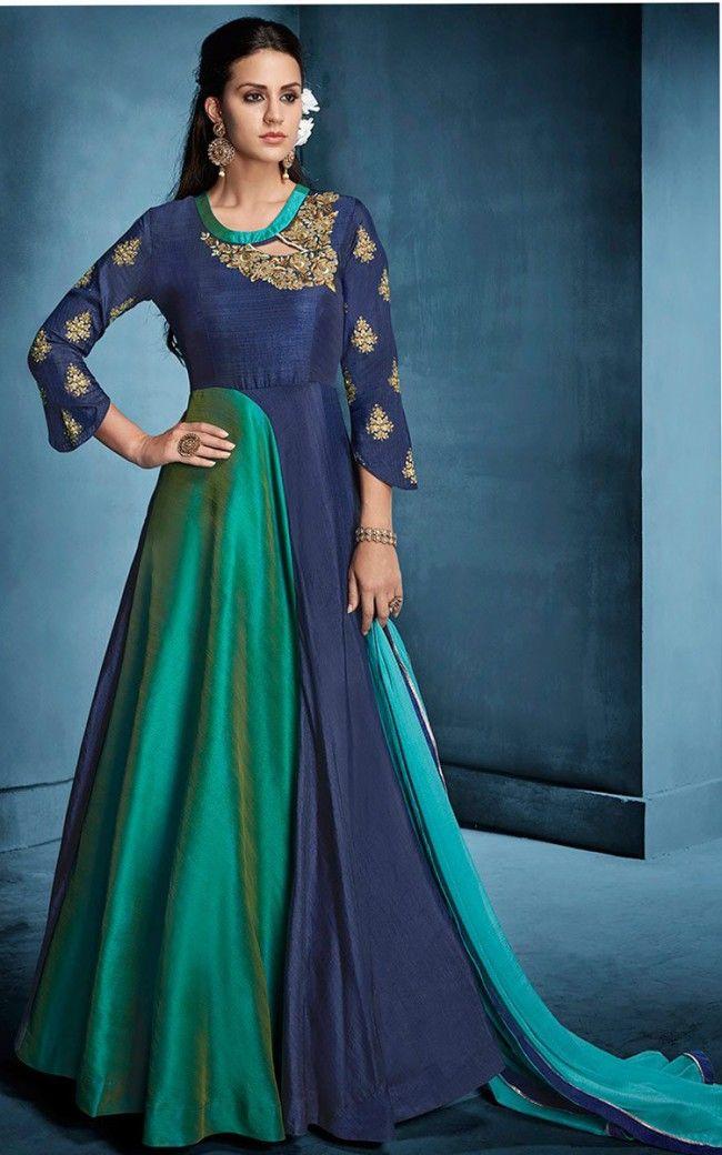 c827558d28 Resham Art Silk Anarkali Suit | Salwar Kamee | Silk anarkali suits ...