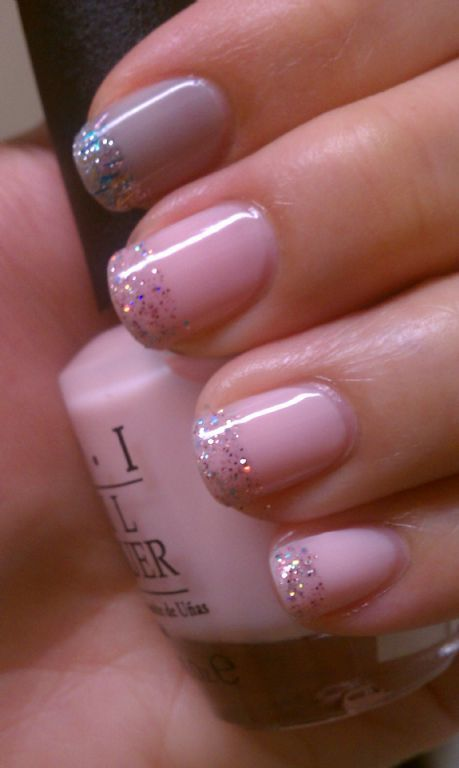 Glitter French tip pink Nails