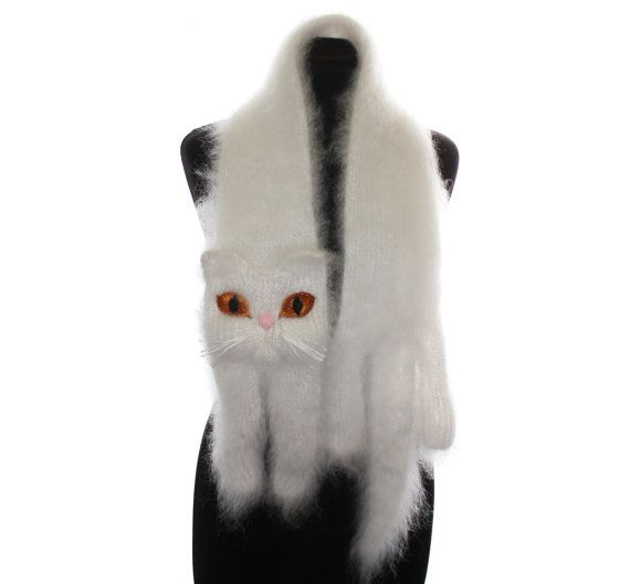 Knitted Scarf / White Persian cat / Fuzzy Soft Scarf / by TaniaSh