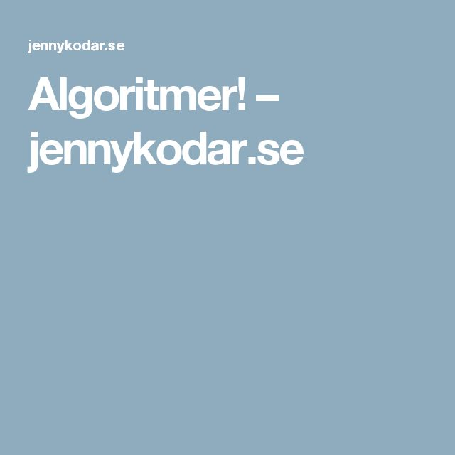 Algoritmer! – jennykodar.se