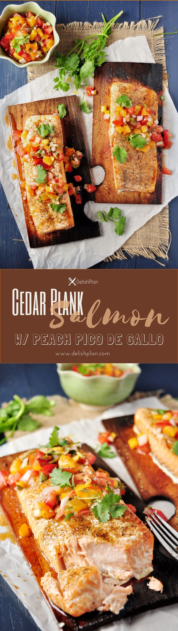 Grilled salmon on cedar planks that are soaked in white wine and elegantly served with peach pico de gallo for a greatly refreshing combination. Read more at  http://www.delishplan.com/cedar-plank-salm…ch-pico-de-gallo/