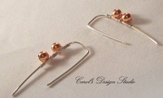 Argentium Sterling Silver hoops with copper accents