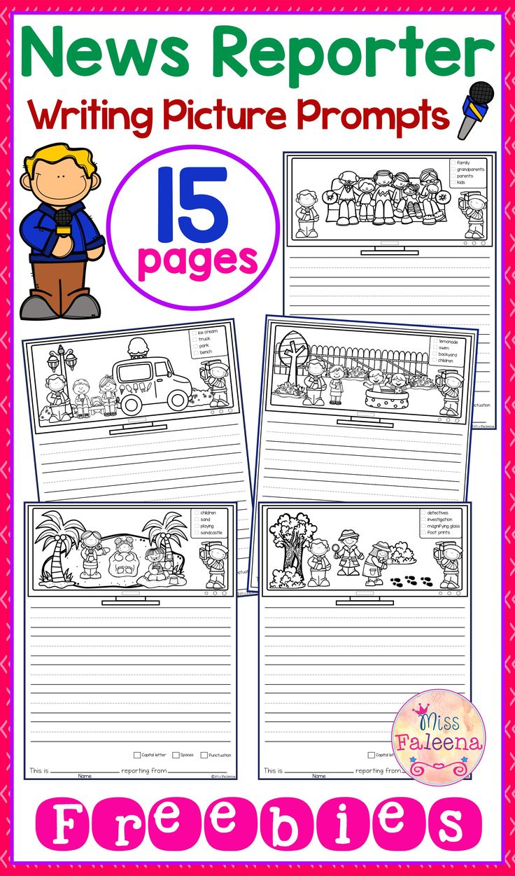 Free Writing Picture Prompts - News Reporter contains 15 free pages of picture prompts worksheets. This product is suitable for kindergarten and first grade students. Children are encouraged to use thinking skills by becoming news reporter while improving their writing skills.  Kindergarten | Kindergarten Worksheets | First Grade | First Grade Worksheets |Free Writing picture Picture Prompts | Writing Prompts | Picture Prompts Worksheets | Kindergarten Writing