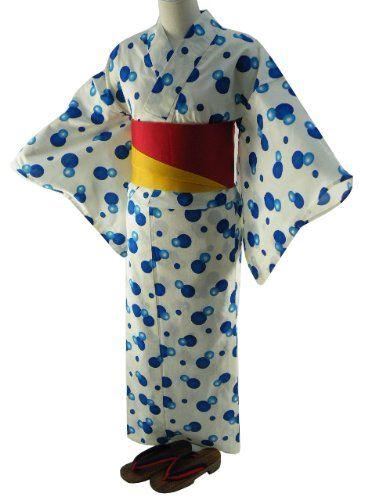 Amazon.co.jp: 女性用 浴衣3点セット お仕立て上がりゆかた ホワイト青水玉 『AE-03S』: 服&ファッション小物