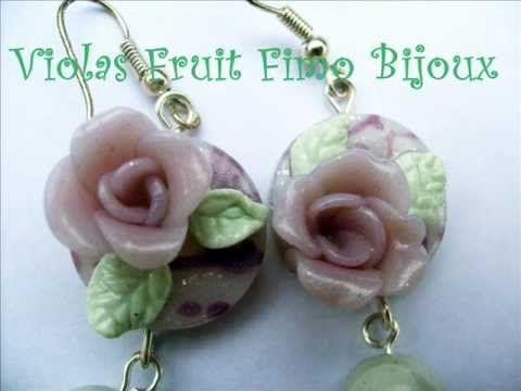 Creazioni orecchini anelli by Violas Fruit Fimo Bijoux - YouTube