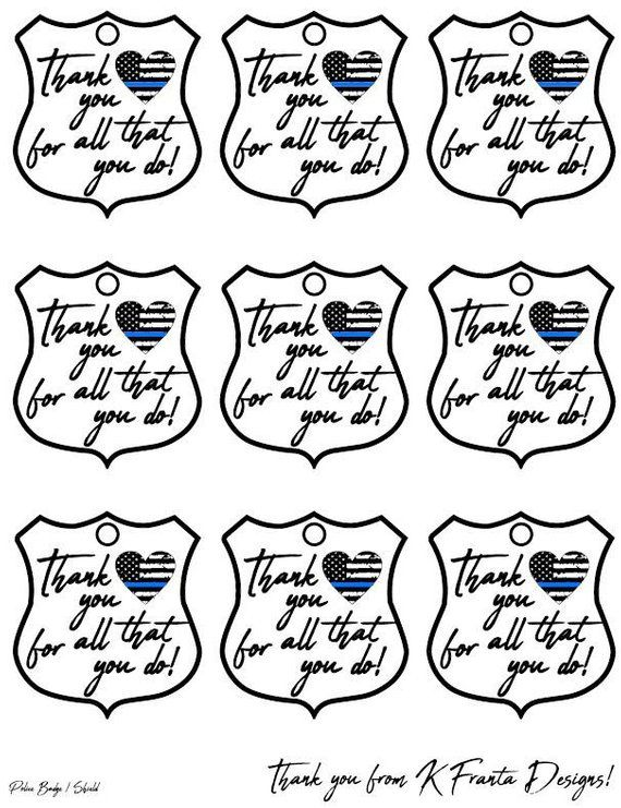 Police Badge Thank You Tag Thin Blue Line Heart Flag