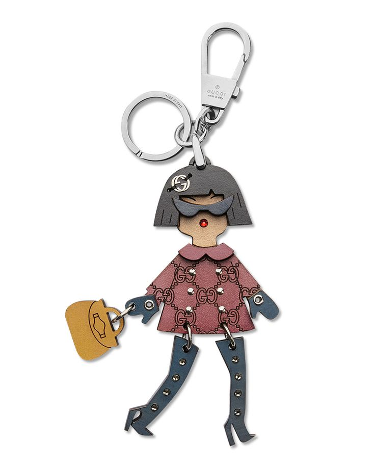 Brunette Lady Key Ring Charm, Multi - Gucci