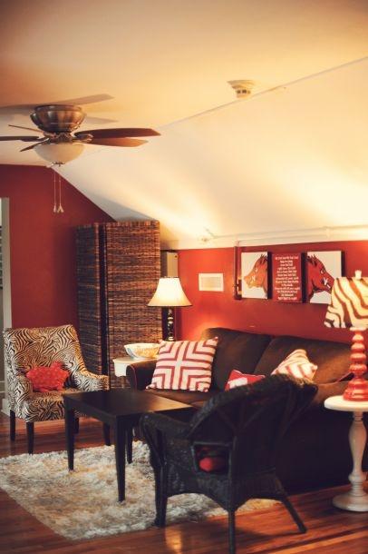 Razorback Room - love the red zebra lamp