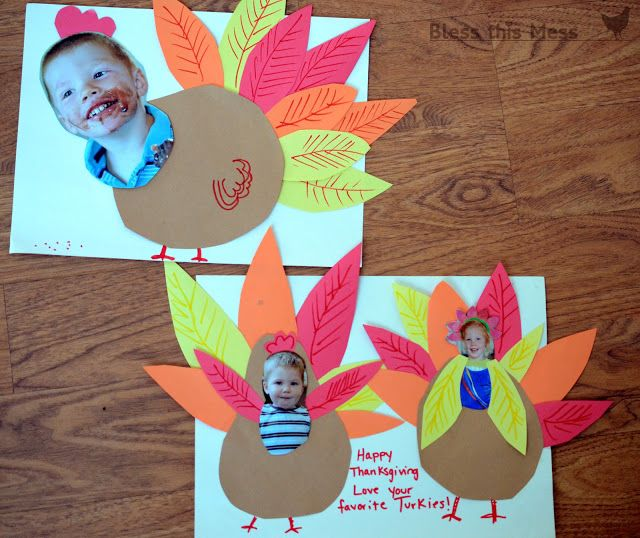 """5 Easy Turkey Crafts for Kids - """"turkey yourself"""" we sent these to grandma last year and it was so much fun. She loves the mail and the kids thought they were hilarious turkeys."""