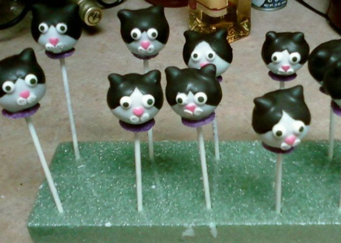 Mickey (my cat) cake pops. Needs blue eyes instead of black