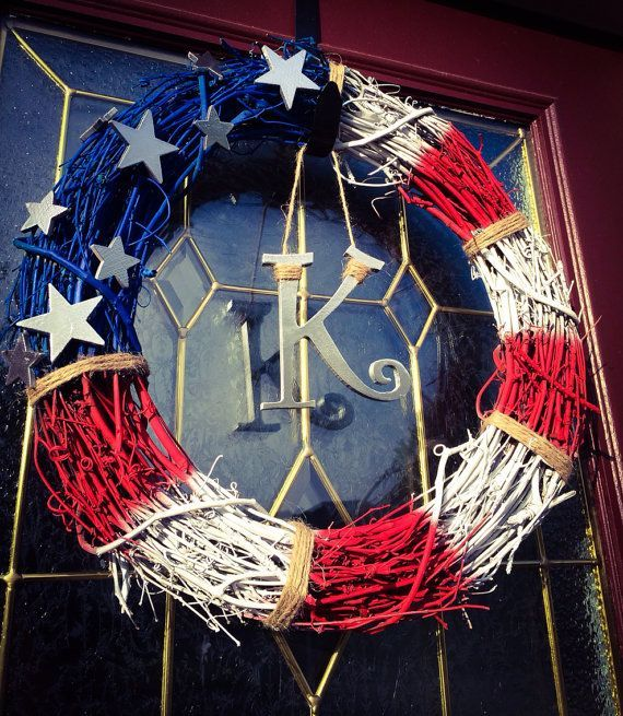 Patriotic Grapevine Wreaths | Rustic Chic Patriotic Flag Grapevine Wreath by TheCraftyChicShoppe, $ ...